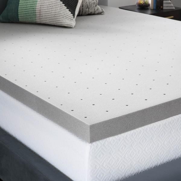 3 inch bamboo charcoal memory foam mattress topper by lucid