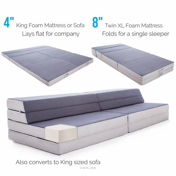 Twin Xl King Folding Mattress Sofa By Lucid 174 Linenspa