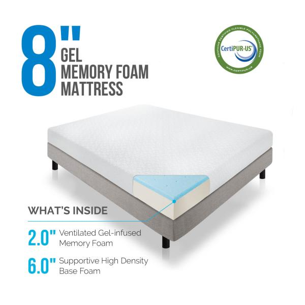 8 Quot Gel Memory Foam Mattress By Lucid 174 Linenspa