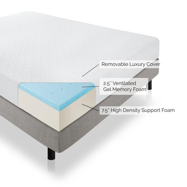 "10"" Gel Memory Foam Mattress by Lucid"