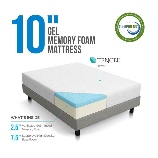 10 Quot Gel Memory Foam Mattress By Lucid 174 Linenspa