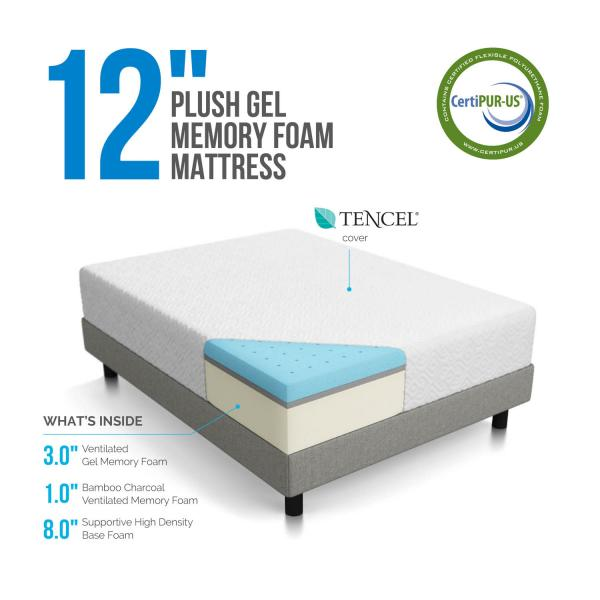 12 Quot Gel Memory Foam Plush Mattress By Lucid 174 Linenspa