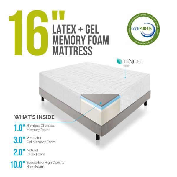16\u0026quot; Natural Latex and Memory Foam Mattress by Lucid\u00ae  Linenspa